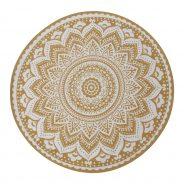 שטיח ענת עגול בצבעי חרדל ולבן, עשוי 100% כותנה