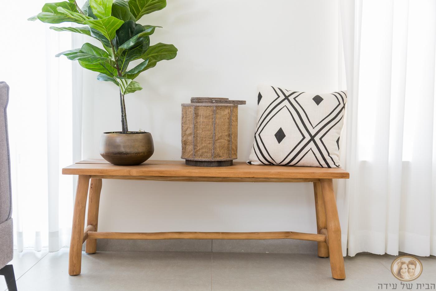 ספסל עץ לסלון